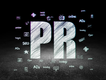 pr: Marketing concept: Glowing text PR, Hand Drawn Marketing Icons in grunge dark room with Dirty Floor, black background