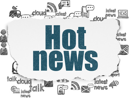 urgent announcement: News concept: Painted blue text Hot News on Torn Paper background with Hand Drawn News Icons