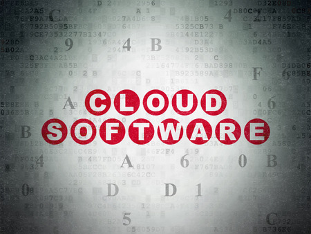 software: Cloud computing concept: Painted red text Cloud Software on Digital Paper background with Hexadecimal Code