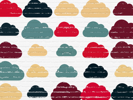 cloud networking: Cloud networking concept: Painted multicolor Cloud icons on White Brick wall background