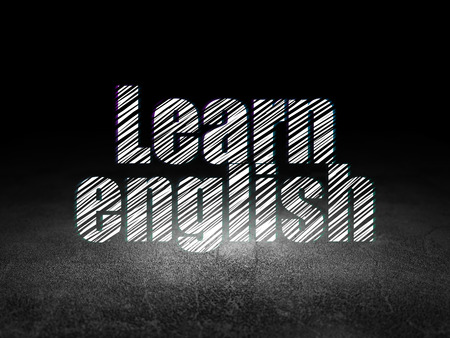 dirty room: Education concept: Glowing text Learn English in grunge dark room with Dirty Floor, black background Stock Photo