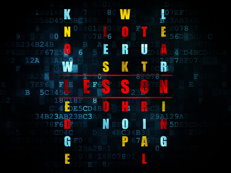 word lesson: Studying concept: Pixelated red word Lesson in solving Crossword Puzzle on Digital background