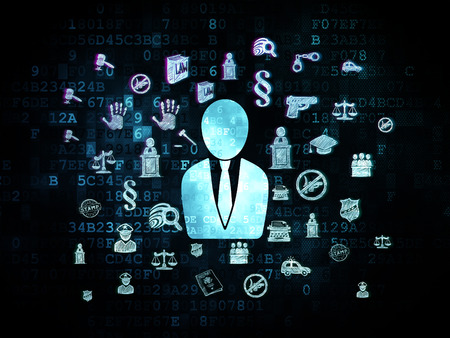 cyber defence: Law concept: Pixelated blue Business Man icon on Digital background with Hand Drawn Law Icons