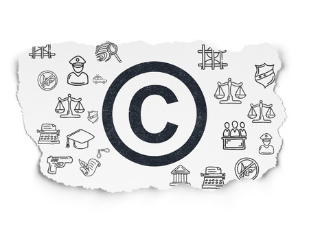 Law concept: Painted black Copyright icon on Torn Paper background with Hand Drawn Law Icons
