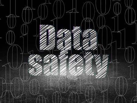 dirty room: Data concept: Glowing text Data Safety in grunge dark room with Dirty Floor, black background with  Binary Code, 3d render Stock Photo
