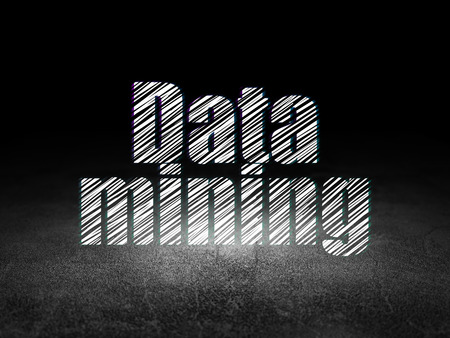 dirty room: Data concept: Glowing text Data Mining in grunge dark room with Dirty Floor, black background, 3d render