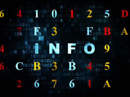 hexadecimal: Data concept: Pixelated blue text Info on Digital wall background with Hexadecimal Code, 3d render