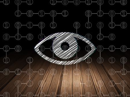 black eye: Protection concept: Glowing Eye icon in grunge dark room with Wooden Floor, black background with Scheme Of Binary Code, 3d render