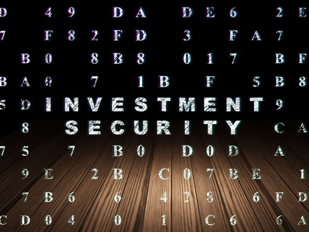 investment security: Protection concept: Glowing text Investment Security in grunge dark room with Wooden Floor, black background with Hexadecimal Code, 3d render