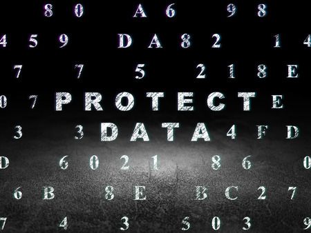 dirty room: Security concept: Glowing text Protect Data in grunge dark room with Dirty Floor, black background with Hexadecimal Code, 3d render