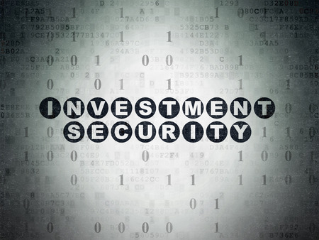 investment security: Security concept: Painted black text Investment Security on Digital Paper background with Binary Code, 3d render