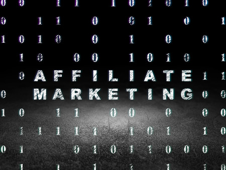 dirty room: Finance concept: Glowing text Affiliate Marketing in grunge dark room with Dirty Floor, black background with Binary Code, 3d render