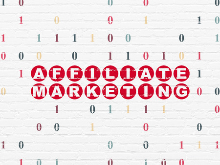 Finance concept: Painted red text Affiliate Marketing on White Brick wall background with Binary Code, 3d render photo