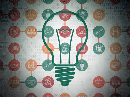 Finance concept: Painted green Light Bulb icon on Digital Paper background with Scheme Of Hand Drawn Business Icons, 3d render photo