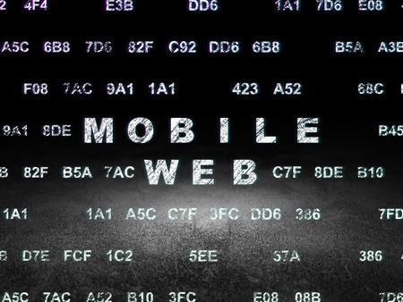 dirty room: Web design concept: Glowing text Mobile Web in grunge dark room with Dirty Floor, black background with Hexadecimal Code, 3d render