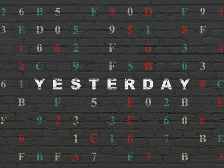 yesterday: Timeline concept: Painted white text Yesterday on Black Brick wall background with Hexadecimal Code, 3d render