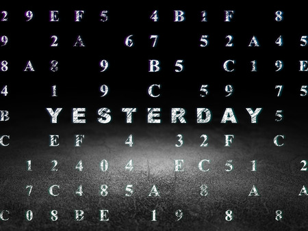 dirty room: Timeline concept: Glowing text Yesterday in grunge dark room with Dirty Floor, black background with Hexadecimal Code, 3d render Stock Photo