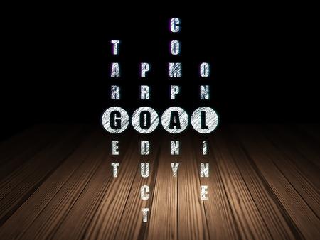 room background: Marketing concept: Glowing word Goal in solving Crossword Puzzle in grunge dark room with Wooden Floor, black background, 3d render