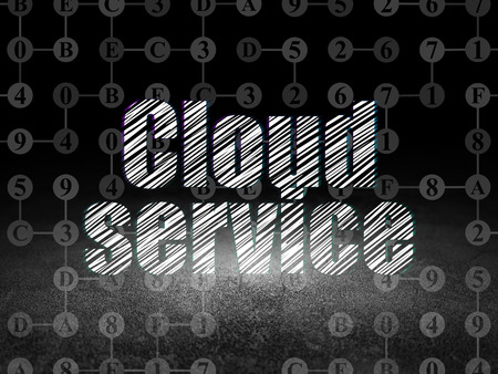 dirty room: Cloud technology concept: Glowing text Cloud Service in grunge dark room with Dirty Floor, black background with Scheme Of Hexadecimal Code, 3d render
