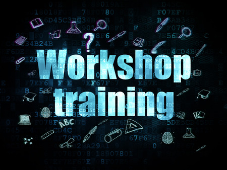 Studying concept: Pixelated blue text Workshop Training on Digital background with  Hand Drawn Education Icons, 3d render