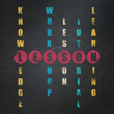 word lesson: Learning concept: Painted red word Lesson in solving Crossword Puzzle on School Board background, 3d render