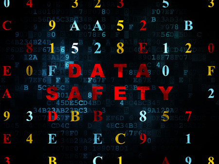 data: Data concept: Pixelated red text Data Safety on Digital wall background with Hexadecimal Code, 3d render