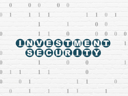 investment security: Privacy concept: Painted blue text Investment Security on White Brick wall background with Binary Code, 3d render