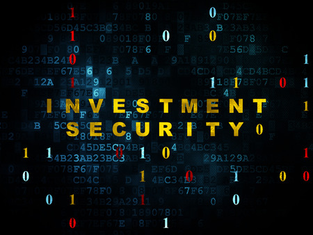 investment security: Safety concept: Pixelated yellow text Investment Security on Digital wall background with Binary Code, 3d render