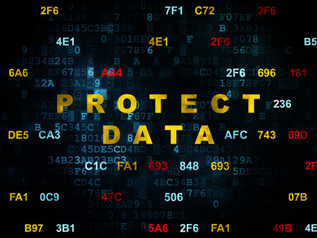hexadecimal: Security concept: Pixelated yellow text Protect Data on Digital wall background with Hexadecimal Code, 3d render Stock Photo