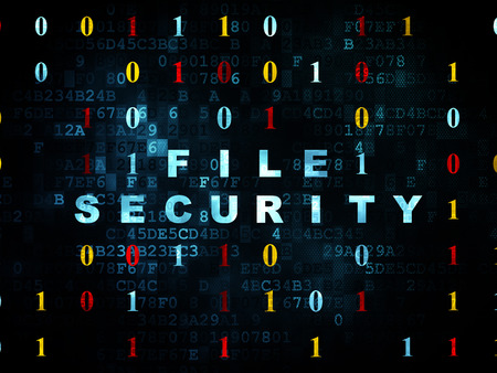 binary file: Security concept: Pixelated blue text File Security on Digital wall background with Binary Code, 3d render Stock Photo