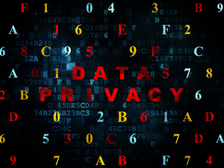 hexadecimal: Protection concept: Pixelated red text Data Privacy on Digital wall background with Hexadecimal Code, 3d render Stock Photo