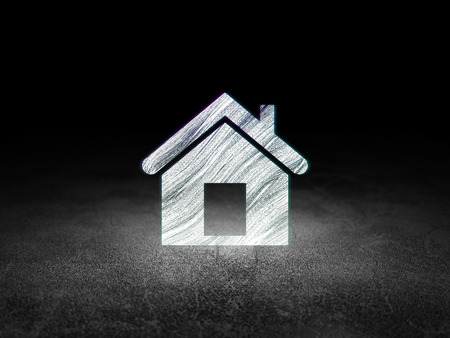 dirty room: Finance concept: Glowing Home icon in grunge dark room with Dirty Floor, black background, 3d render Stock Photo