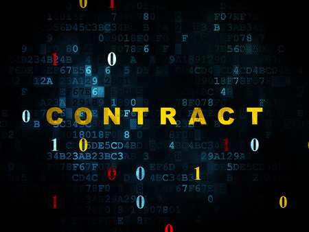 Finance concept: Pixelated yellow text Contract on Digital wall background with Binary Code, 3d render photo