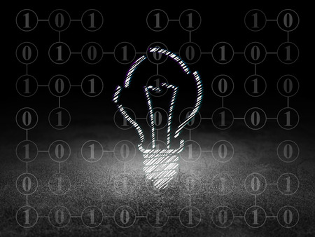 broken strategy: Business concept: Glowing Light Bulb icon in grunge dark room with Dirty Floor, black background with Scheme Of Binary Code, 3d render