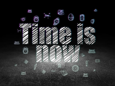 dirty room: Time concept: Glowing text Time is Now,  Hand Drawing Time Icons in grunge dark room with Dirty Floor, black background, 3d render Stock Photo