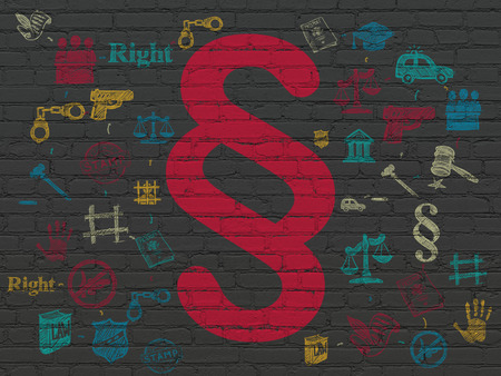 court process: Law concept: Painted red Paragraph icon on Black Brick wall background with Scheme Of Hand Drawn Law Icons, 3d render