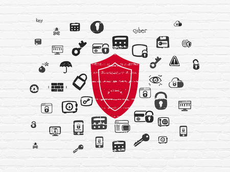 Safety concept: Painted red Shield icon on White Brick wall background with  Hand Drawn Security Icons, 3d render photo