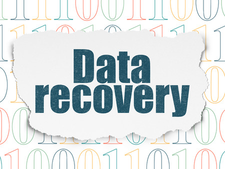 data recovery: Information concept: Painted blue text Data Recovery on Torn Paper background with  Binary Code, 3d render