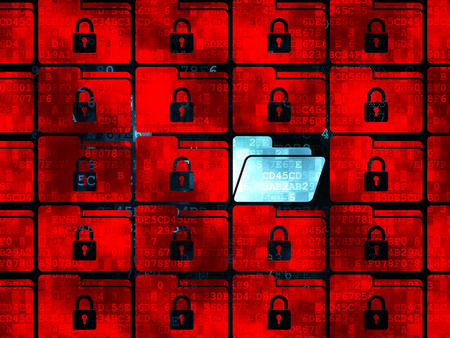 security search: Protection concept: rows of Pixelated red folder with lock icons around blue folder icon on Digital background, 3d render