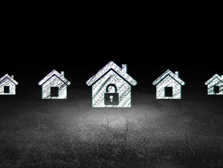 dirty room: Security concept: row of Glowing home icons around home icon in grunge dark room Dirty Floor, dark background, 3d render