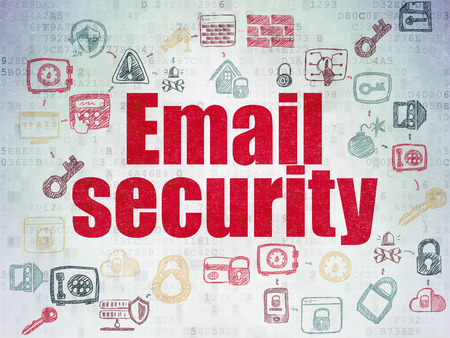 email security: Security concept: Painted red text Email Security on Digital Paper background with  Scheme Of Hand Drawn Security Icons, 3d render