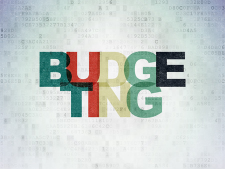 budgeting: Finance concept: Painted multicolor text Budgeting on Digital Paper background, 3d render