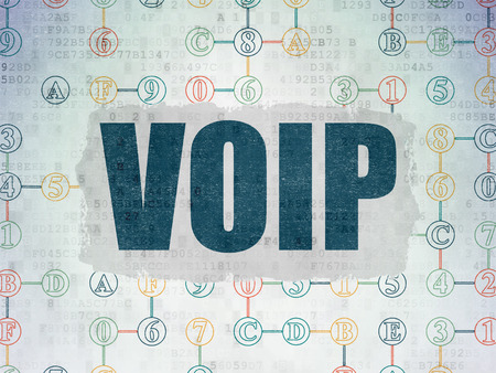 voip: Web design concept: Painted blue text VOIP on Digital Paper background with  Scheme Of Hexadecimal Code, 3d render Stock Photo