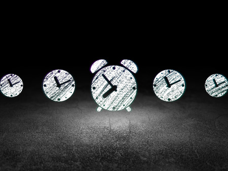 dirty room: Timeline concept: row of Glowing clock icons around alarm clock icon in grunge dark room Dirty Floor, dark background, 3d render Stock Photo