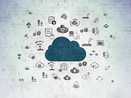 Cloud networking concept: Painted blue Cloud icon on Digital Paper background with  Hand Drawn Cloud Technology Icons, 3d render photo