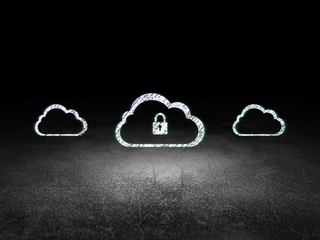 dirty room: Cloud technology concept: row of Glowing cloud icons around cloud with padlock icon in grunge dark room Dirty Floor, dark background, 3d render