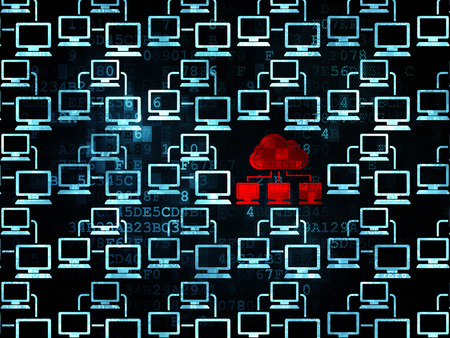 lan: Cloud computing concept: rows of Pixelated blue lan computer network icons around red cloud network icon on Digital background, 3d render