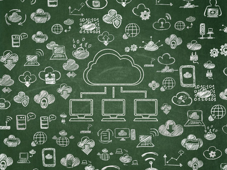 Cloud computing concept: Chalk White Cloud Network icon on School Board background with  Hand Drawn Cloud Technology Icons, 3d render photo