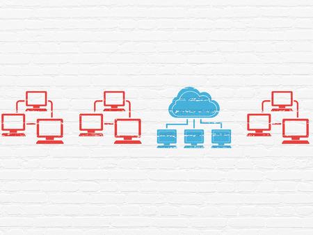 Nube concepto de red: fila de iconos pintados lan red informática rojas alrededor icono de red nube azul sobre fondo de pared de ladrillo blanco, 3d