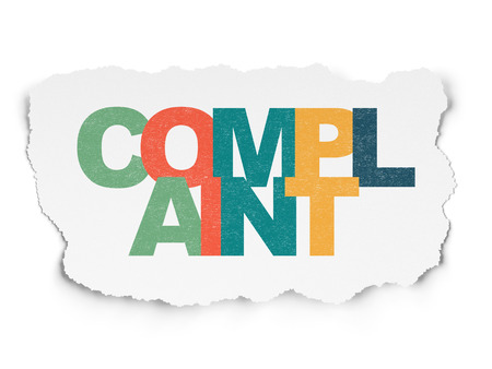 criminal act: Law concept: Painted multicolor text Complaint on Torn Paper background, 3d render